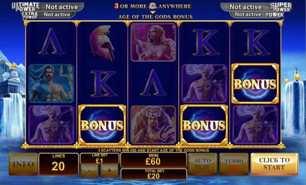 Casino Codes - Three scatters win 60.00 and start Age of the Gods Bonus.