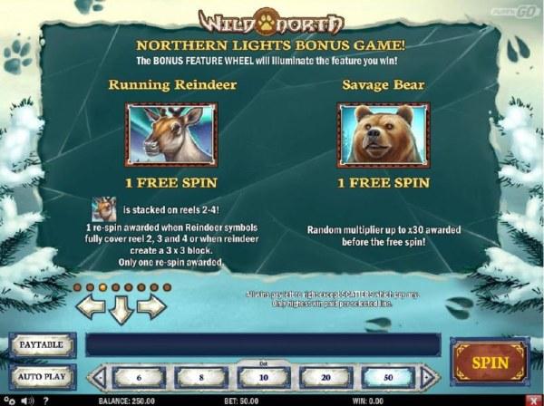 Casino Codes - Northern Lights Bonus game Rules - Runnung Reindeer and Savage Bear