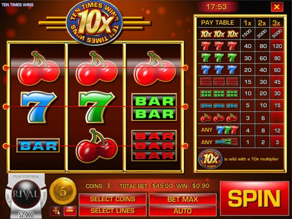 Main game board featuring three reels and 3 paylines with a $75,000 max payout by Casino Codes