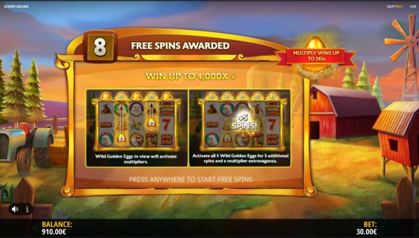 8 free spins awarded - Casino Codes