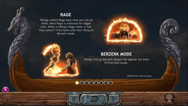 Rage and Berzerk Mode Rules - Vikings collect rage each time you win on them. Rage collected for bigger wins. Vikings that go Berzerk always win against the Siren in free spin mode. by Casino Codes