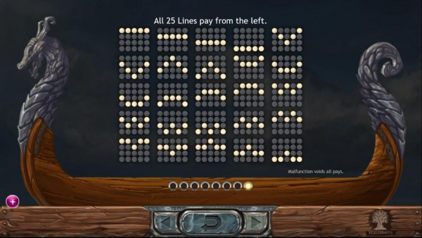 Payline Diagrams 1-25. All 25 lines pay from left to right. by Casino Codes