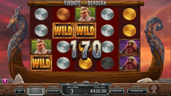 A 170 coin big win triggered during the Free Spins feature. - Casino Codes