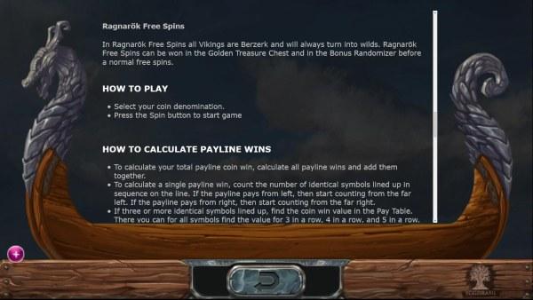 Casino Codes - Ragnarok Free Spins Game Rules