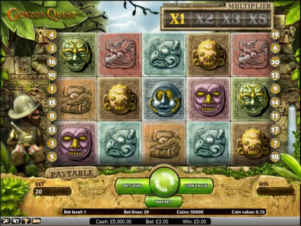 Gonzo's Quest slot game main board by Casino Codes