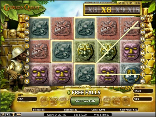 Gonzo's Quest slot game free spins feature 270 coin jackpot - Casino Codes