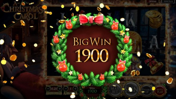 Christmas Past free spins feature pays out a total of 1900 coins for a big win! by Casino Codes