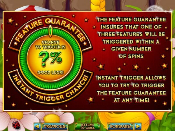 Feature Guarantee insures that a feature will be triggered within a certain number of spins by Casino Codes