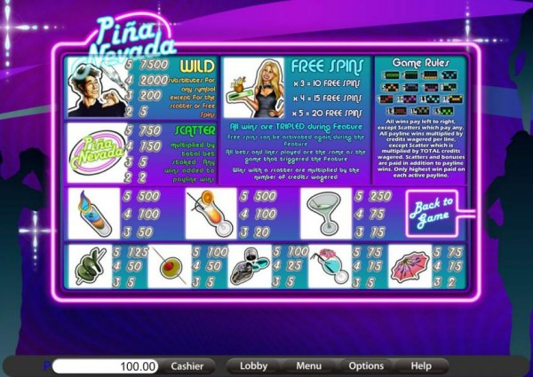Casino Codes - game rules, symbols paytable and payline diagrams