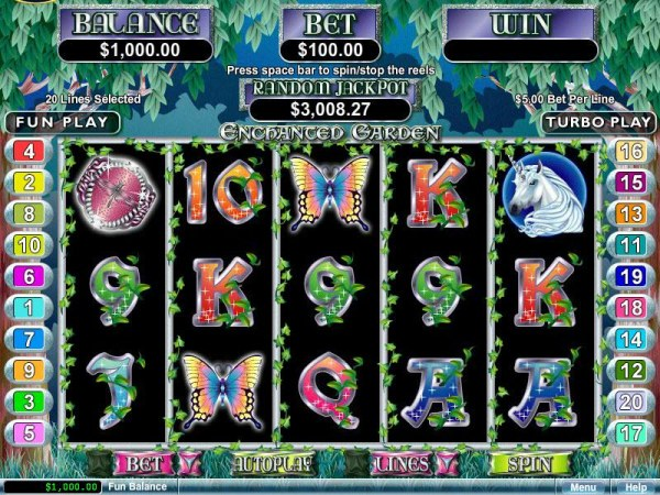 A fairy tale themed main game board featuring five reels and 20 paylines with a $250,000 max payout - Casino Codes