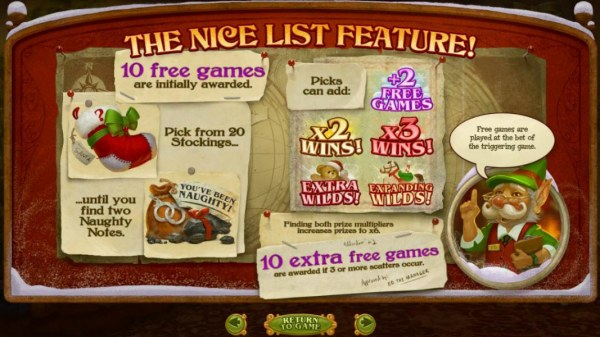 The Nice List feature consists of 10 free games initially. Pick from 20 stockings until you find two Naughty Notes. by Casino Codes