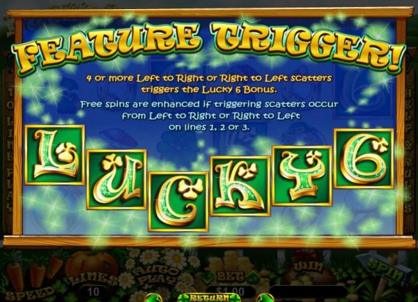 Casino Codes - Feature Trigger - 4 or more left to right or right to left scatters triggers the Lucky Bonus. Free spins are enhanced if triggering scatters occur from left to right or right to left on lines 1, 2 or 3.