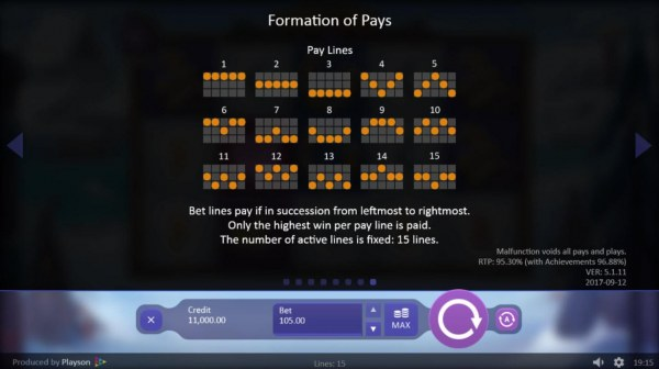 Paylines 1-15 - Casino Codes