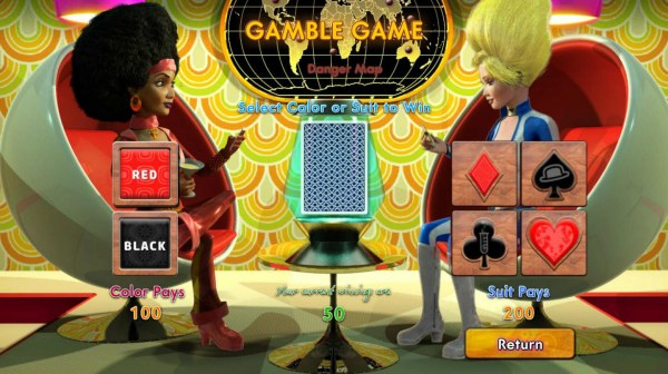Gamble Feature - To gamble any win press Gamble then select Red or Black or Suit by Casino Codes