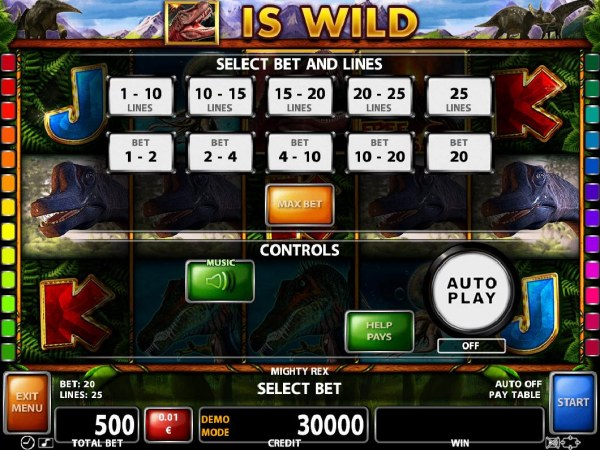 Select Bet and Lines - 1 to 25 Lines and 1 to 20 coins per line. - Casino Codes