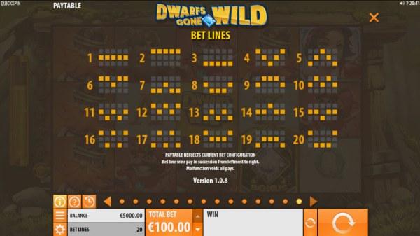 Casino Codes - Paylines 1-20