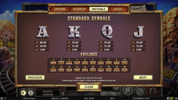 Casino Codes image of Gold Canyon