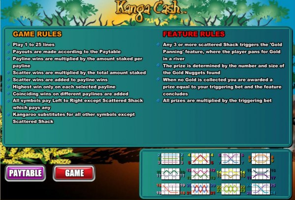 Casino Codes - General Game Rules, Bonus Feature and Payline Diagrams 1-25.