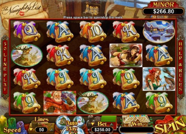 Main game board featuring five reels and 50 paylines with a $125,000 max payout - Casino Codes