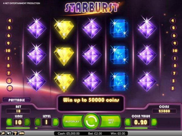 Starburst slot game playing field by Casino Codes