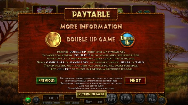 Double Up Gamble Feature Rules by Casino Codes