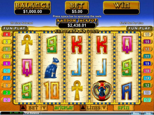 Casino Codes - An Egyptian themed main game board featuring five reels and 20 paylines with a $12,500 max payout