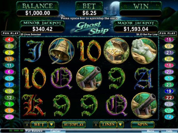 Casino Codes - Main game board featuring five reels and 25 paylines with a progressive jackpot